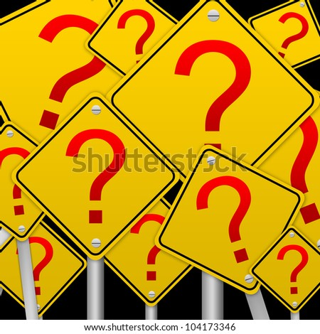 Business Concept With The Square Question Mark Road Sign isolated on Black Background - stock photo
