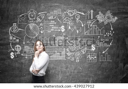 Business concept with thoughtful businesswoman standing against chalkboardl with sketch  - stock photo