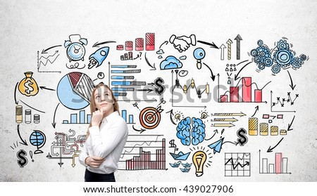 Business concept with thoughtful businesswoman standing against concrete wall with colorful sketch  - stock photo