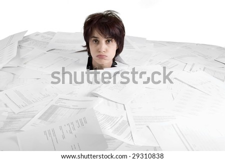 business concept woman drowning in paperwork - stock photo