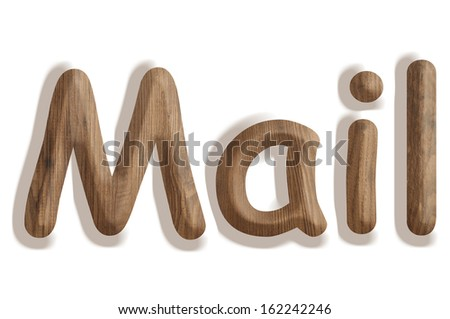 Business concept:  wooden word mail on white background - stock photo