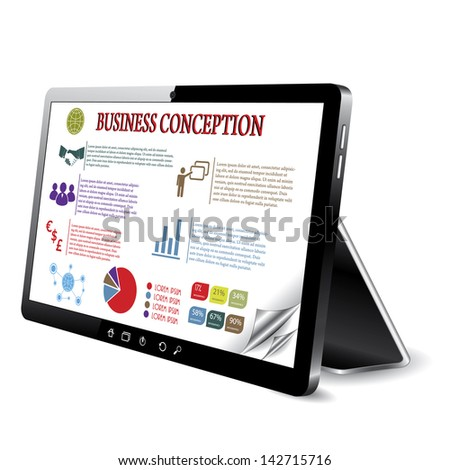 Business conception on the tablet computer screen.