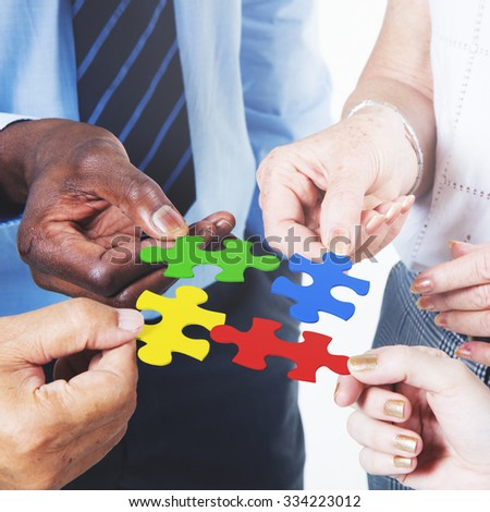 Business Connection Corporate Team Jigsaw Puzzle Concept - stock photo