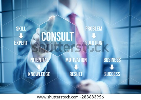 Business consult concept, businessman selecting interface