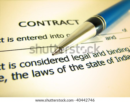 Business Contract and pen - stock photo