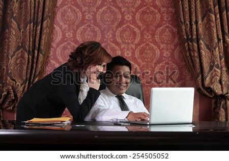 business couple at office, abstract background - stock photo