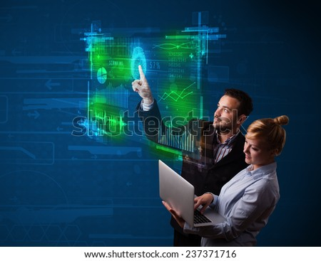 Business couple pressing modern technology panel with finger print reader - stock photo