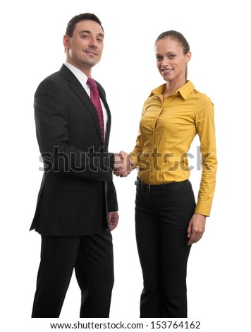 business couple shaking hands isolated on white