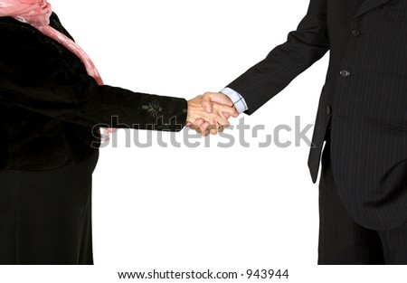 business couple shaking hands over a white background - full bodies
