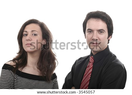 business couple together isolated on white background - stock photo