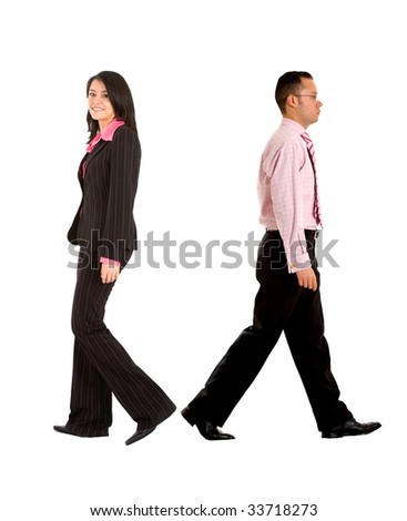 Business couple walking away isolated over white - stock photo