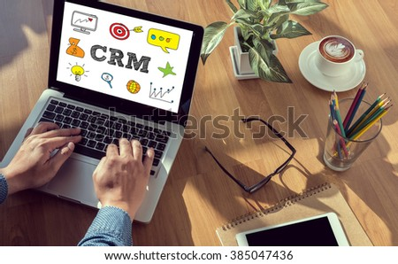 Business Customer CRM Management Analysis Service Concept man hand on table Business, coffee, Split tone - stock photo