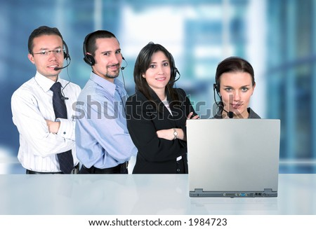 business customer service representatives in an office - stock photo