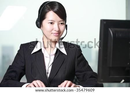 business customer support operator woman - stock photo
