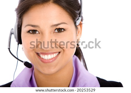 business customer support operator woman smiling at helpdesk - isolated - stock photo