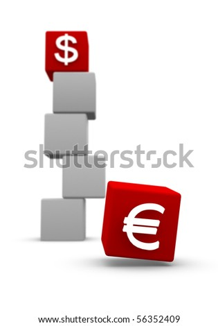 Business 3D graph with euro and us dollar signed red cubes - stock photo