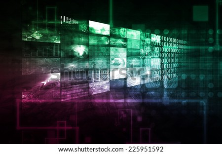 Business Data and Multimedia Technology as Concept - stock photo
