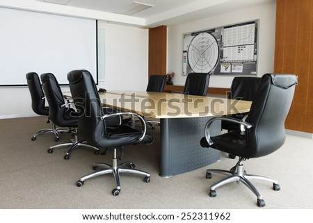 Business data information projector board in conference room, meeting room, boardroom, Classroom, Office conference room - stock photo