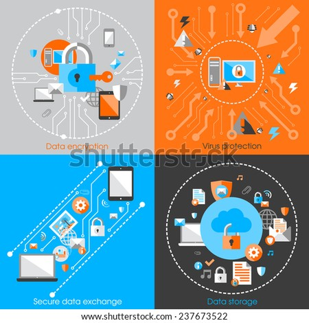 Business data protection technology and cloud network security concept infographic design elements  illustration - stock photo