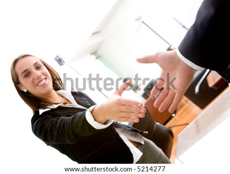 business deal in an office - focus is on the hands - stock photo