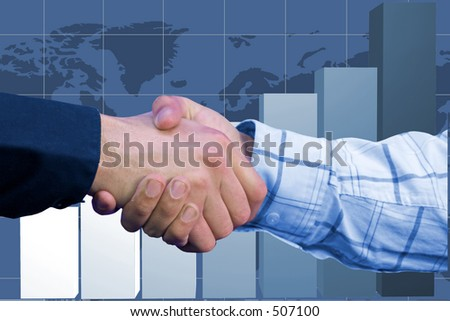 business deal over a business chart in blue