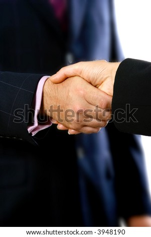 Business deal secured with a handshake by two people in suits.