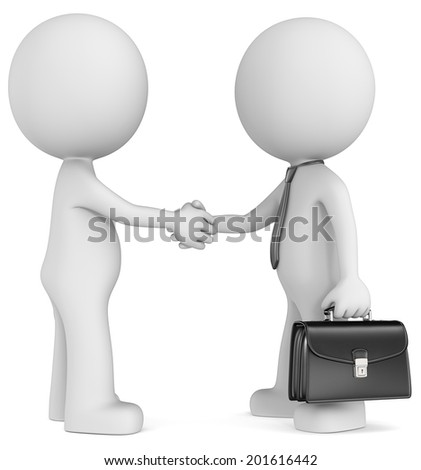 Business deal. The Dude shaking hand with character wearing tie and briefcase. Side view.