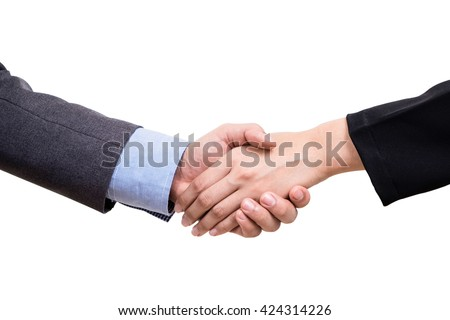 Business deal with handshake isolate on white background with clipping path.