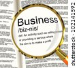 Business Definition Magnifier Shows Commerce Trade Or Company - stock photo