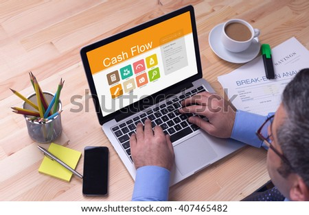 Business desk concept - Cash Flow - stock photo