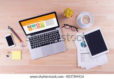 Business desk concept - Curriculum Vitae - stock photo