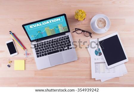 Business desk concept - EVALUATION - stock photo