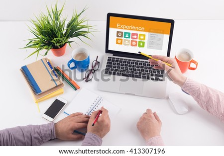 Business desk concept - Experience - stock photo