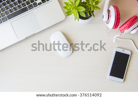 Business desk  on white table