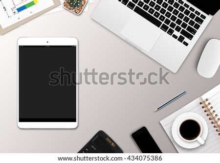 business desk with a keyboard, mouse and pen on white wooden table [top view]