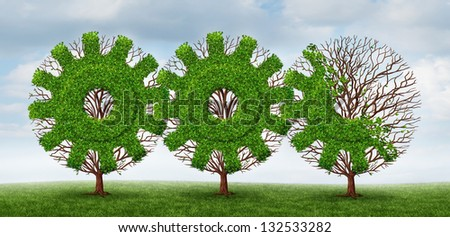 Business development and growing industry concept with trees shaped as a gear or cog connected together with future financial growth ahead on a summer sky background. - stock photo
