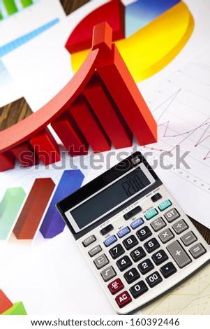 Business diagram, growth, chart,arrow  - stock photo