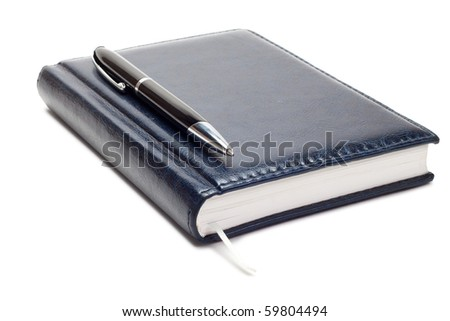 business diary with pen isolated over white background - stock photo
