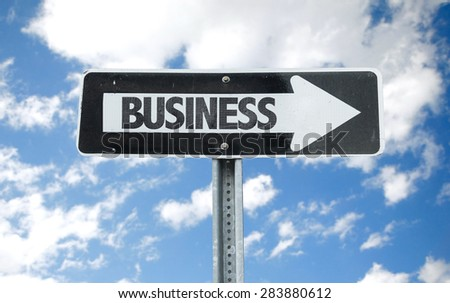 Business direction sign with sky background - stock photo