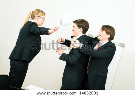 Business discussion coming close to a physical fight - stock photo