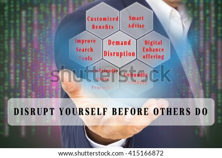 Business Disruption Concept  image. Demand disruption factors on the double exposure of business man and digital code background. with Text banner. - stock photo