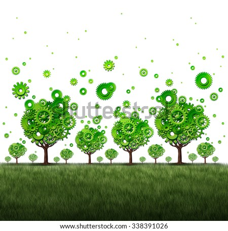 Business distribution and global economic activity concept as a group of gears and cog wheels shaped as growing trees spreading their machine parts as a commerce metaphor or industry networking icon. - stock photo