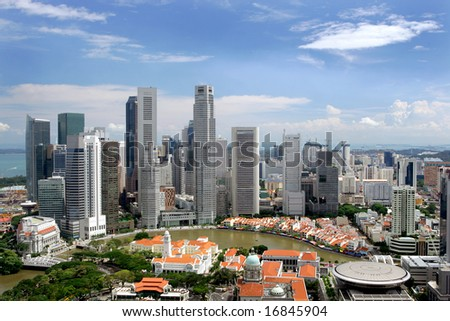 Business district and Boat Quay, Singapore - stock photo