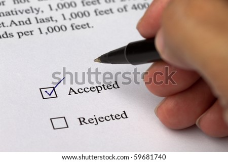 Business document with 2 check boxes, Accepted box was checked.