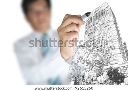 Business draw building and cityscape - stock photo