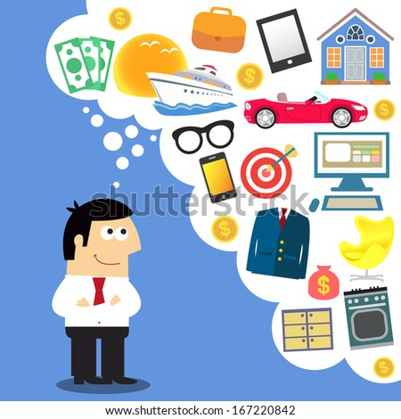 Business dreams, future planning illustration - stock photo