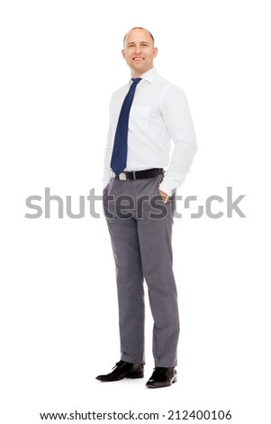 business, education and office concept - smiling businessman - stock photo