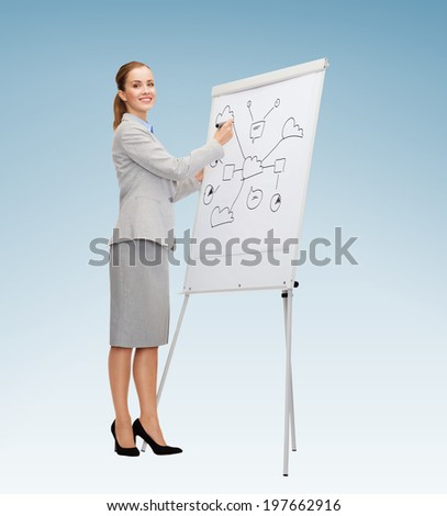 business, education and office concept - smiling businesswoman drawing plan on flip board - stock photo