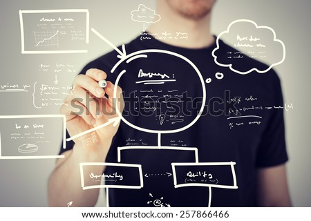 business, education and technology - man drawing plan on the virtual screen - stock photo