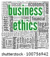 Business ethics concept related words in tag cloud on white - stock vector